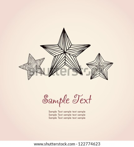 Template for design and decoration. Hand drawn decorative ornamental linear festive stars and sample text