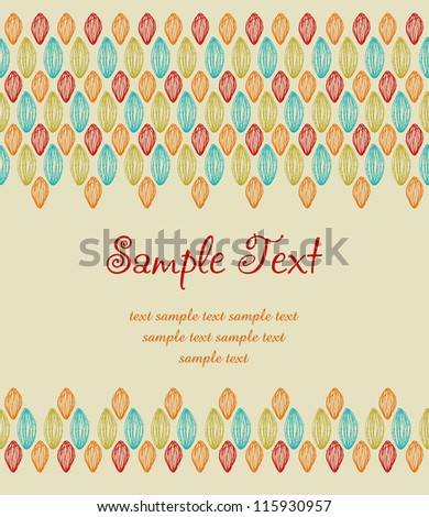 Template for design with colorful lace pattern and place for your text. Hand drawn ornamental ethnic background with sample text