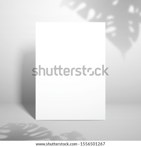 Template for design with white blank sheet of paper and shadows from the leaves of the monstera plant