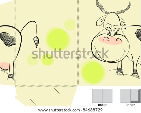Template for folder with illustration of cow