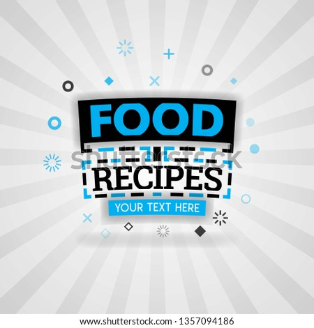 Template for food recipes blue poster. for promotion, advertising, marketing. Can be for textbook cover magazine, culinary websites, foodie site, restaurant chain, cookbook, dinner cooking book