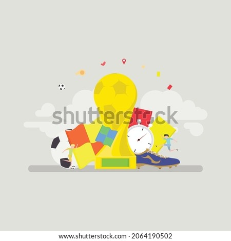 Template for football. Vector illustration of a soccer championship equipment. Trophy of the FIFA World Cup and official ball of FIFA World Cup and the green grass of the football field.