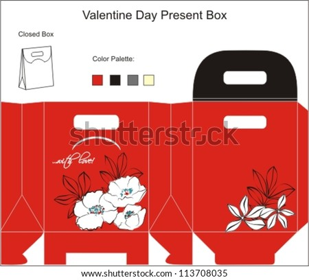 Template for Gift Box with flowers