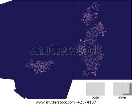 Template for gift folder with die cut. (pink flowers)
