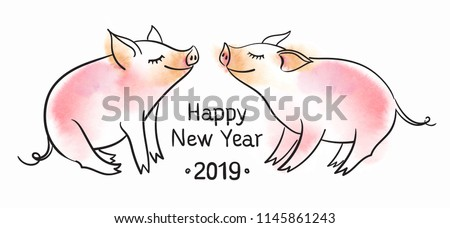 Template for greeting card. Black and white linear vector illustration. The pig is a symbol of the New Year of 2019