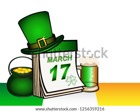 Template for greeting card or invitation to St. Patrick's Day. Patrick's Day attributes are leprechaun's hat, a pot of gold coins, a glass mug with a frothy beer and an Irish flag. March 17th.