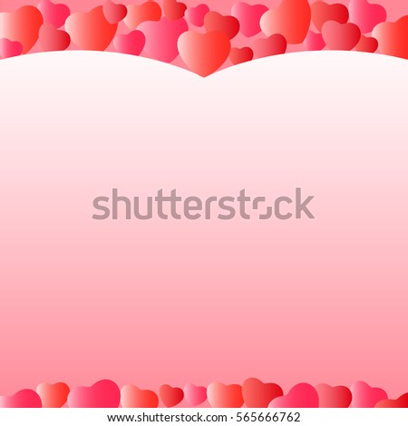 Template for greeting cards for Valentine's Day. Background with hearts. Wallpaper #565666762
