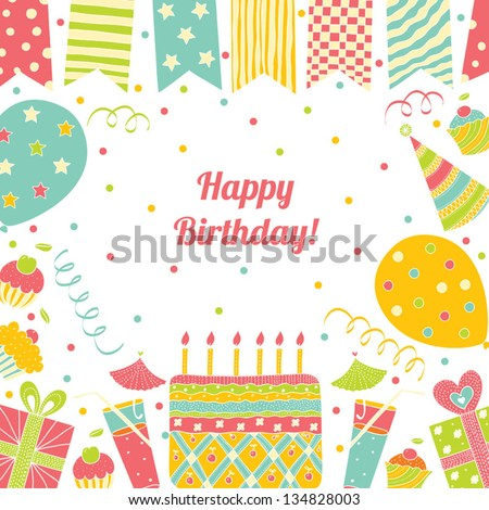 template for happy birthday card with place for text stock vector illustration 134828003. Black Bedroom Furniture Sets. Home Design Ideas