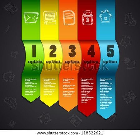 Template for infographics numbered line banners website - stock vector