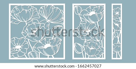 template for laser cutting and Plotter. Flowers, leaves, bouquet for decoration. Vector illustration. poppy flower. plotter and screen printing. serigraphy Foto stock ©