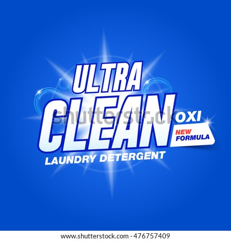 """Template for laundry detergent with inscription """"Ultra clean."""", package design for Washing Powder & Liquid Detergents."""