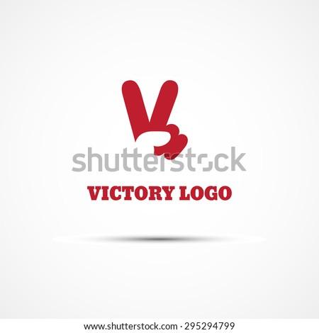 Template for logos, labels, emblems with V hand victory symbol. Vector illustration.