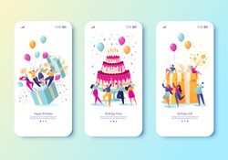 Template for mobile app page with birthday celebrations theme. Party celebration with friends. People blow their whistles, dance, make a surprise, launch fireworks, on the background of cake and gift
