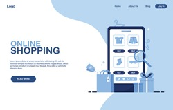 Template for online store. Online Shopping banner. Phone with a clothing shop. Catalog of clothes for sale, orders from home. Ecommerce marketing. Homepage Layout. Blue. Eps 10