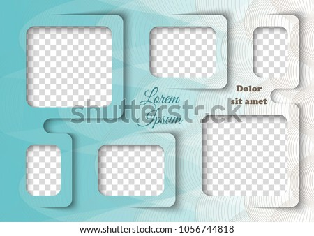 Template for photo collage in modern style. Family photo album. Frames for clipping masks is in the vector file