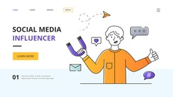 Template for Social Media Influencer website landing page showing a young man holding a horseshoe magnet surrounded by internet media icons with lateral copyspace, colored outline vector illustration