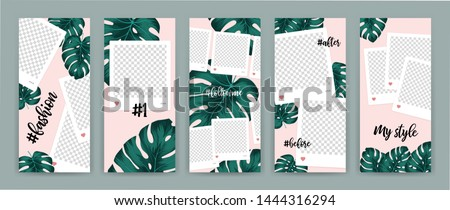 Template for social media with motive tropical leaf on pink background. Monstera deliciosa is a main pattern all project. Everything built on layers and editable shapes.
