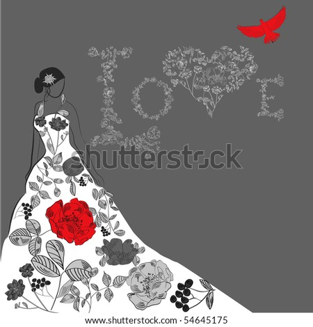 stock vector Template for wedding card