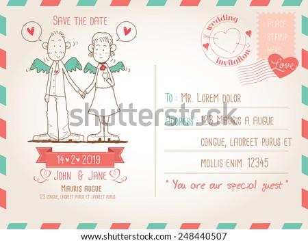 Template for wedding invitation on vintage postcard background