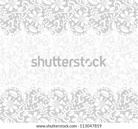 Template for wedding, invitation or greeting card with lace fabric