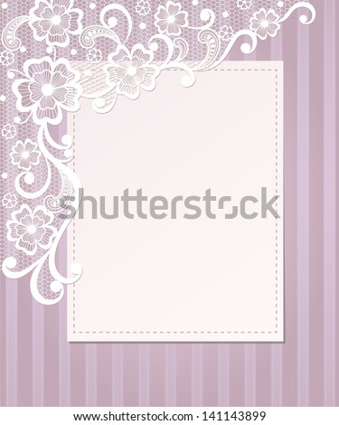 Template frame design for card Vintage Lace Doily