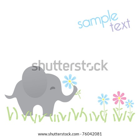 Template frame design for endangered animals, cartoon elephant card, vector illustration