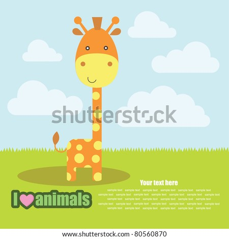 template frame design for endangered animals, cartoon giraffe card, vector illustration