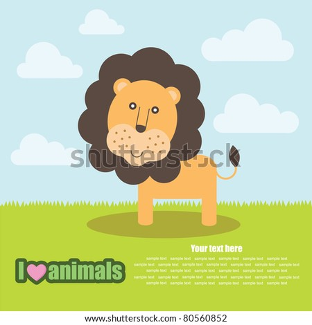 template frame design for endangered animals, cartoon lion card, vector illustration