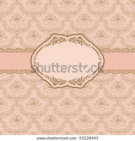 Template frame design for greeting card . Background - seamless pattern.