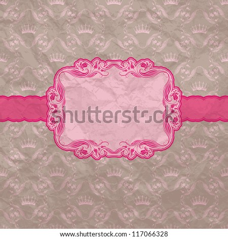Template frame design for greeting card . Crumpled paper background. Vector illustration. EPS10