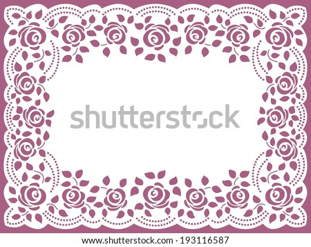 Template frame design for greeting card Vintage Lace Doily