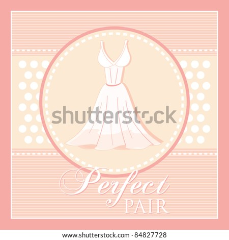 Template frame design for wedding or engagement affections card, invitation card with elegant wedding dress, vector illustration