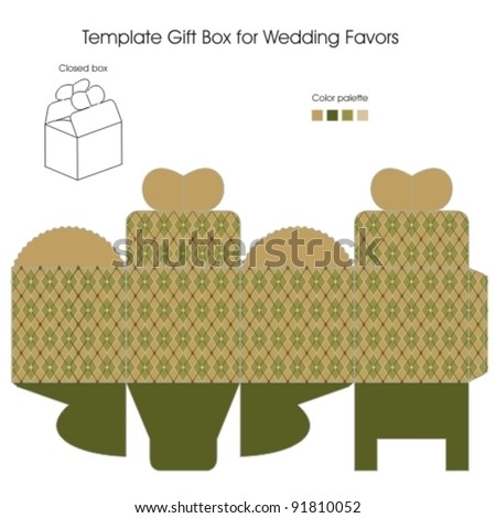 Template gift box for Wedding Favors