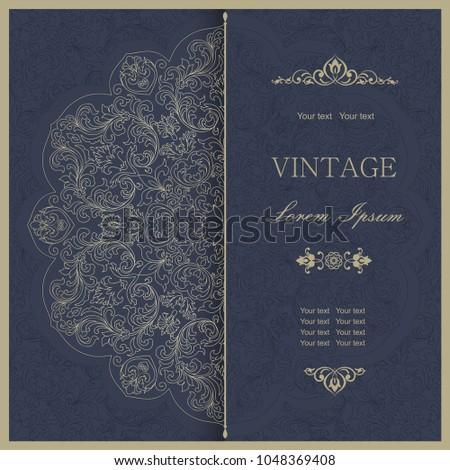 Template greeting card, invitation and advertising banner, brochure with space for text. Vintage Invitation or wedding card with damask pattern and elegant floral elements