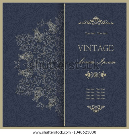 Template greeting card, invitation and advertising banner, brochure with space for text. Vintage Invitation or wedding card with lacy mandala and elegant floral elements in dark blue and gold