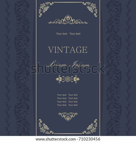 Template greeting card, invitation and advertising banner, brochure with space for text. Vintage Invitation or wedding card with damask pattern and elegant floral elements in dark blue and gold