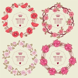 Template greeting card or invitation with flowers. Set