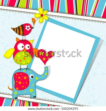 Template greeting card vector scrap illustration