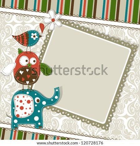 Template greeting card, vector scrap illustration