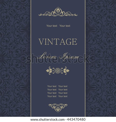 Template greeting cards, invitations and advertising banners, brochures with space for text. Vintage Invitation or wedding card with damask pattern and elegant floral elements in dark blue and gold