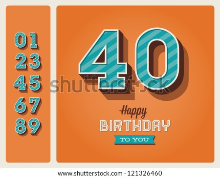 Template happy birthday card with number editable