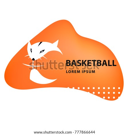 Template image ball for basketball game with face fox. Design sign. Modern professional logo. Concept image for college club, team, children school,  championship.