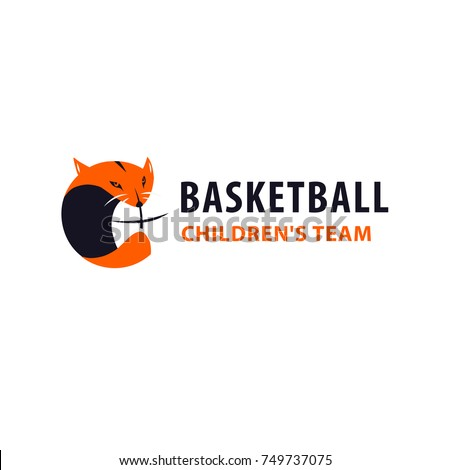 Template image ball for basketball game with fox. Concept image of logo, logotype, banner for basketball team, college club, children school, adult championship, sport news. Sketch vector illustration