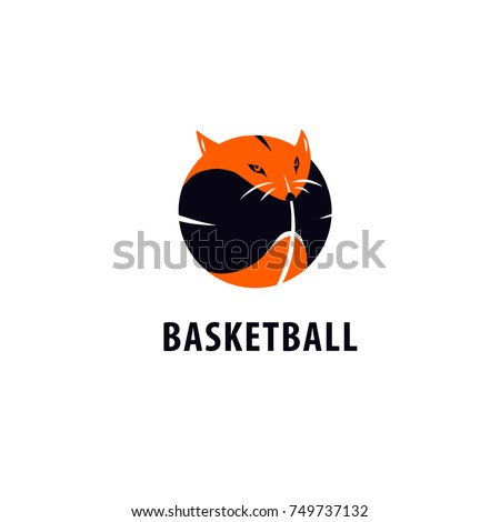Template image ball for basketball game with fox. Concept image of logo, logotype for basketball team, college club, children school, adult championship, sport news. Sketch vector illustration.