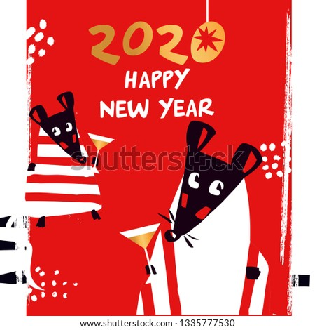 Template image for Happy new year party with rat, mice on red background. Lunar horoscope sign mouse. Chinese Happy new year 2020. Funny sketch mouse with long tail. Vector illustration.