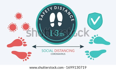 Template infographics about social distance. With a green round sticker that tells you to keep a distance of 1-3 meters to avoid the spread of COVID-19 coronavirus, a sign reminding you of the
