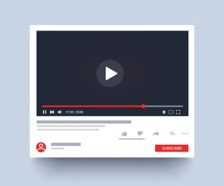 Template interface video player. Social media concept. Mockup video channel. Web windows player. Video content, blogging. Vector illustration. EPS 10