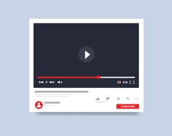 Template interface video player. Social media concept. Mockup video channel. Web windows player. Video content, blogging, Vector illustration. EPS 10