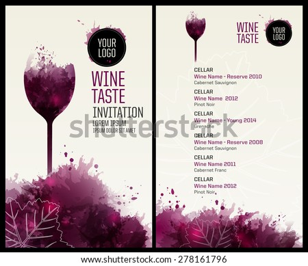 Template list or wine tasting. Illustration glass of wine. Background with wine stains, expressive texture. Idea for your design. Vector