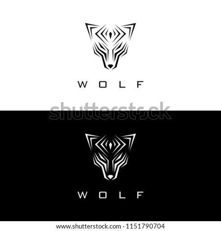 TEMPLATE LOGO ABSTRACT WOLF